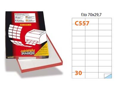 1 CONFEZIONE 3000 ETICHETTE ADESIVE 100 FOGLI A4 70X29.7 STAMPANTE LASER INKJET